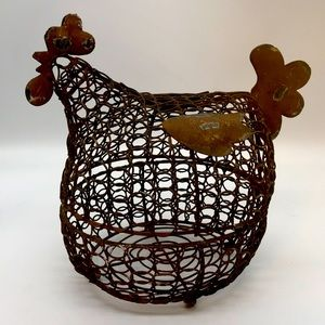 Chicken Hen Metal/Wire Egg Basket (Very Unique)